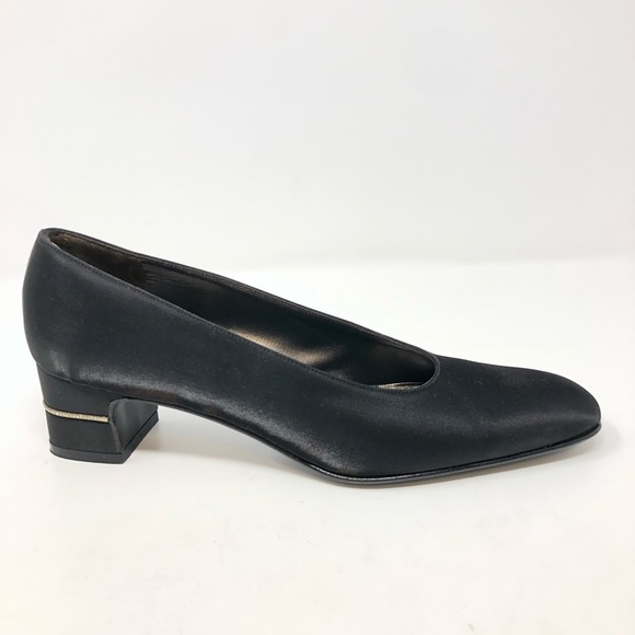 Salvatore Ferragamo Shoes - Salvatore Ferragamo Shoes 7 Black Satin Rhinestone